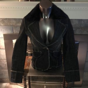 Women's bebe Jean Blazer Fur Collar XS Retail $199